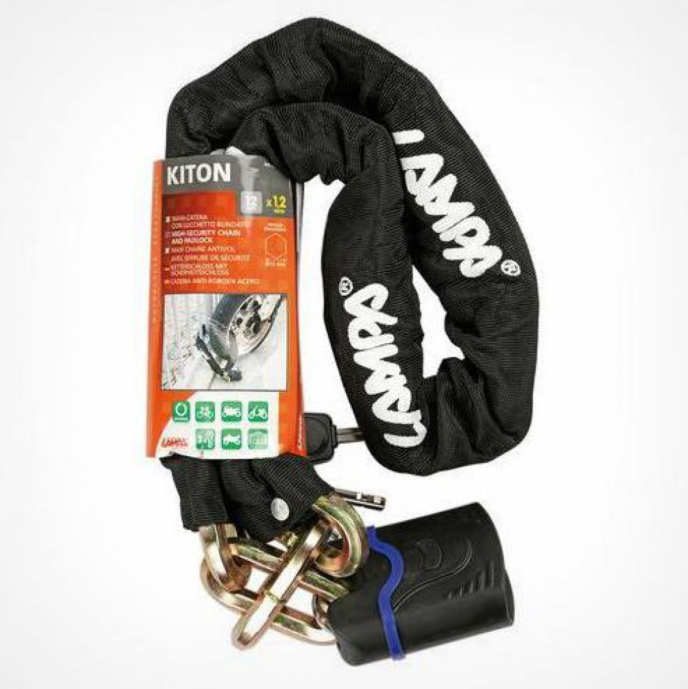 Kiton, maxi catena antifurto con lucchetto blindato - 120 cm