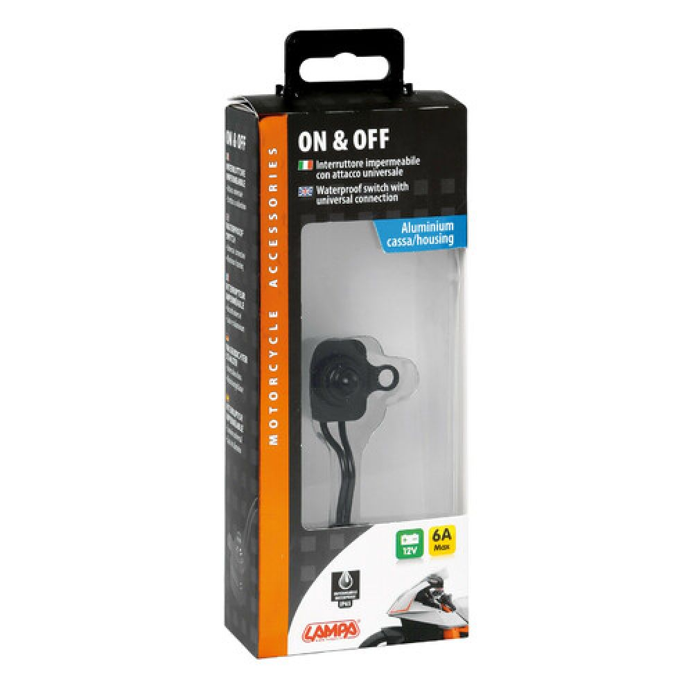 On & Off, waterproof switch, 12V - Black
