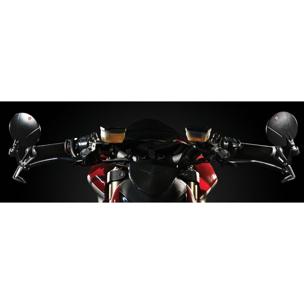Black Star, bar end rearview mirrors with lever guard